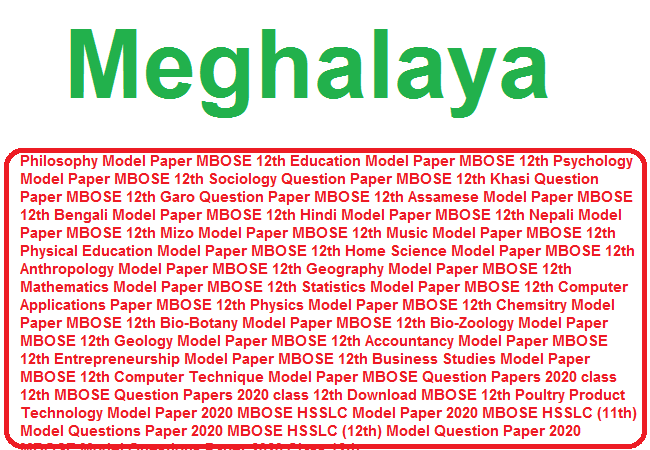 Meghlaya 10th Model Paper 2020