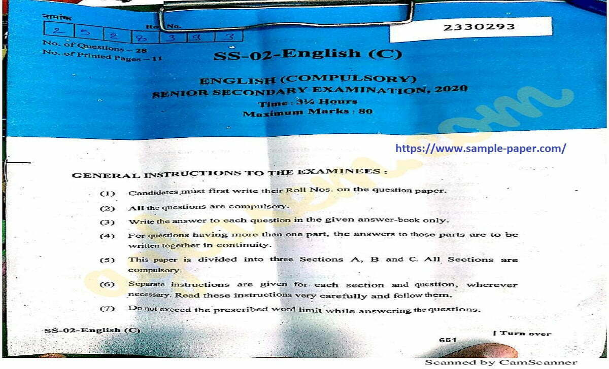 RBSE 10th Model Paper 2021 Rajasthan X Blueprint 2021 Raj Xth Question Paper 2021